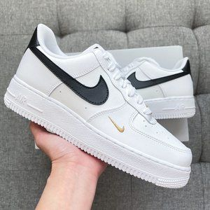 🦍 Nike Air Force 1 white black gold shoes